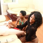 Ebony Beauties Divinity And Kitty Thunder Tag Team Mike And His Long White Dick